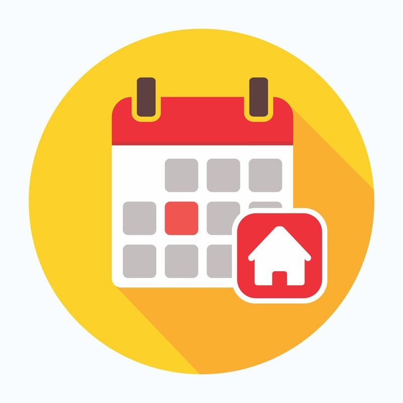 Calendar with a House Icon